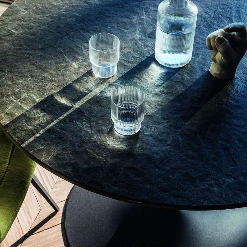 Table pied central design en c ramique et m tal infinity midj 4 pieds tables chaises et - Table ceramique pied central ...