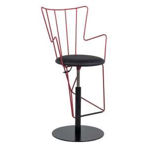 Tabouret design réglable en synthétique noir et métal rouge - Well