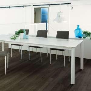 Table extensible moderne en céramique blanche et acier laqué - Prisma