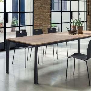 Table moderne extensible en mélaminé chêne et acier laqué noir - Prisma