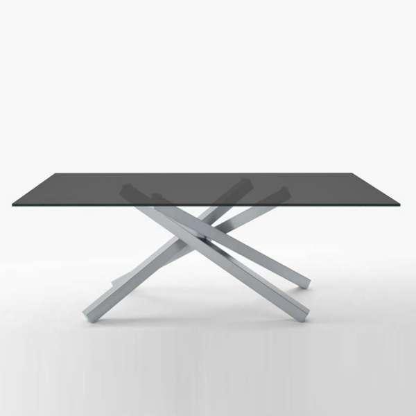Table design en verre trempé et piétement mikado en métal - Péchino Midj®