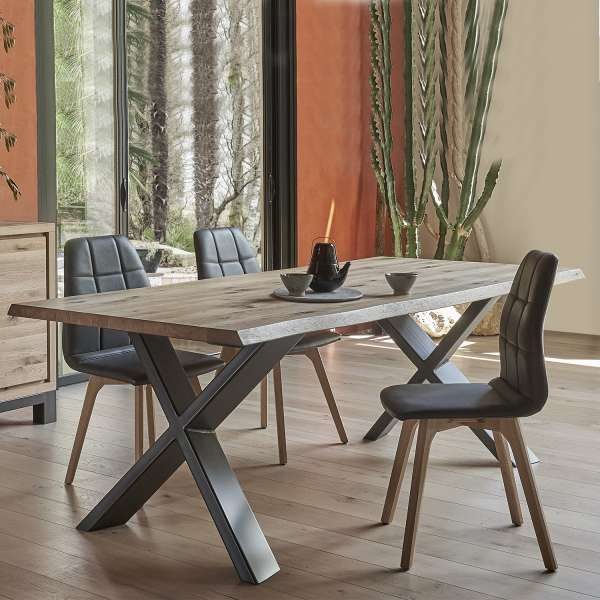 table de salle manger moderne extensible en ch ne massif et m tal pieds en x forest 4. Black Bedroom Furniture Sets. Home Design Ideas