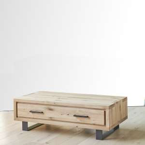 Table basse moderne avec tiroir en chêne massif et métal - Oregon