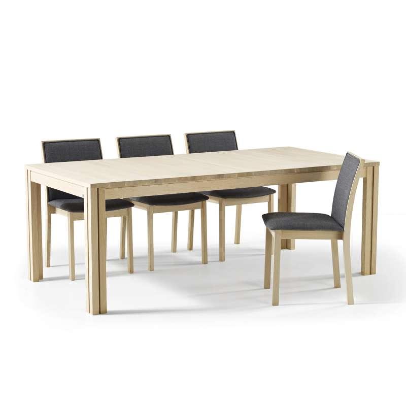 table scandinave rectangulaire en bois avec allonges. Black Bedroom Furniture Sets. Home Design Ideas