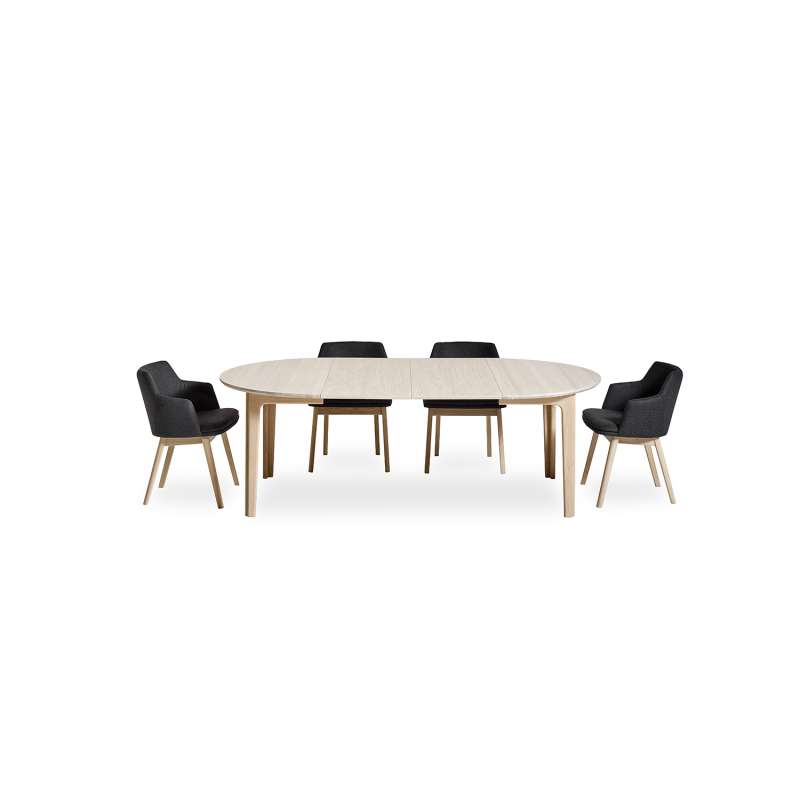 table ronde en bois style scandinave extensible sm112. Black Bedroom Furniture Sets. Home Design Ideas