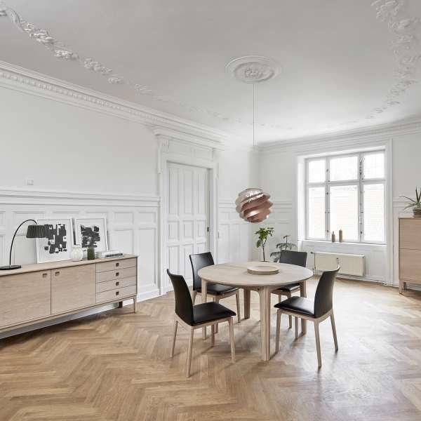 table ronde en bois style scandinave extensible sm112. Black Bedroom Furniture Sets. Home Design Ideas