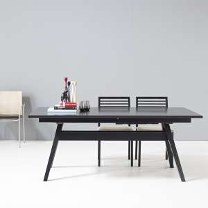 Table scandinave extensible en bois noir avec allonges - SM11
