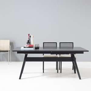Table scandinave extensible en bois noir avec allonges - SM11