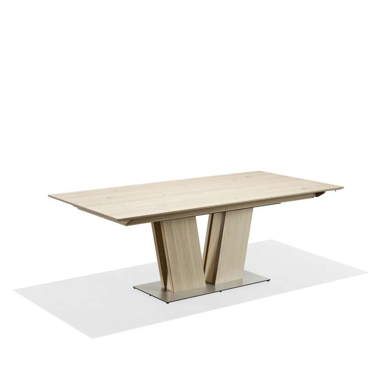 Good table en bois naturel extensible avec pied central sm for Table ovale blanche pied central