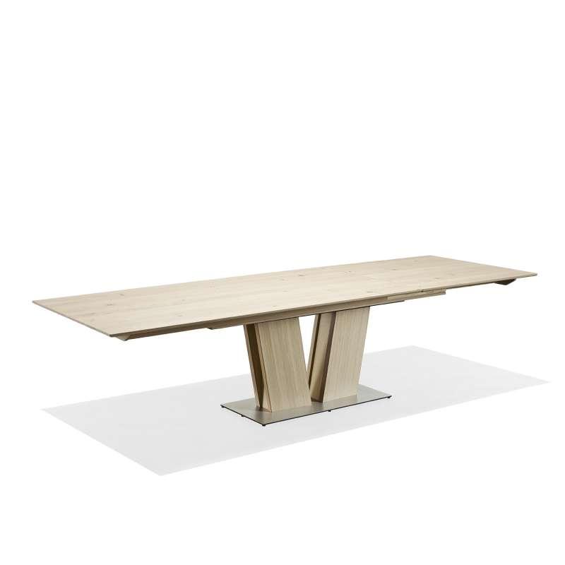 Table en bois moderne extensible avec pied central sm39 for Table extensible moderne