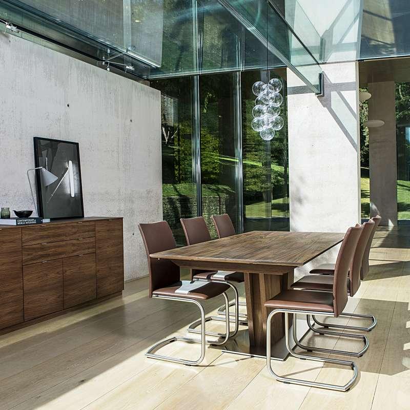 table en bois moderne extensible avec pied central sm39 4 pieds tables chaises et tabourets. Black Bedroom Furniture Sets. Home Design Ideas
