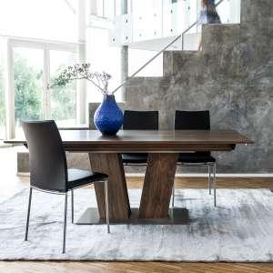 Table en bois foncé moderne extensible avec pied central - SM39