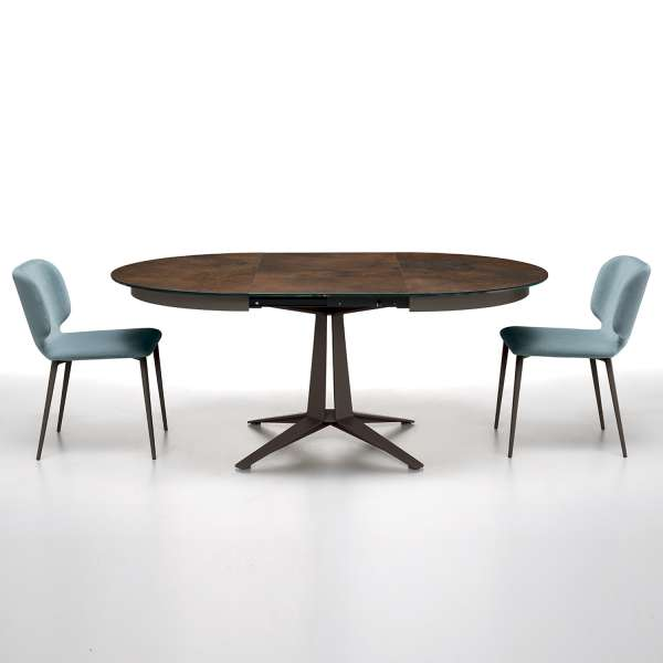 table design ronde extensible en c ramique pied central en