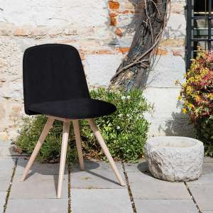 Chaise scandinave en synthétique noir et bois naturel - Molly Wood
