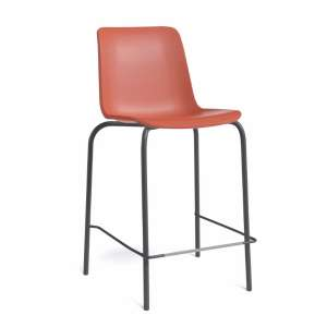 Tabouret snack empilable en polypropylène rouge orange et métal noir - Paris