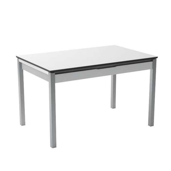 petite table de cuisine en m lamin blanc extensible avec tiroir camel 4. Black Bedroom Furniture Sets. Home Design Ideas