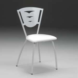 Chaise de cuisine en métal industriel assise rembourrée blanche fabriquée en France - Hévéa