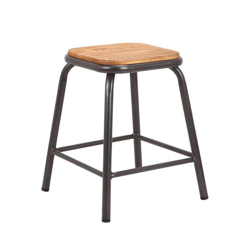 tabouret bas industriel en m tal assise bois matis 4. Black Bedroom Furniture Sets. Home Design Ideas
