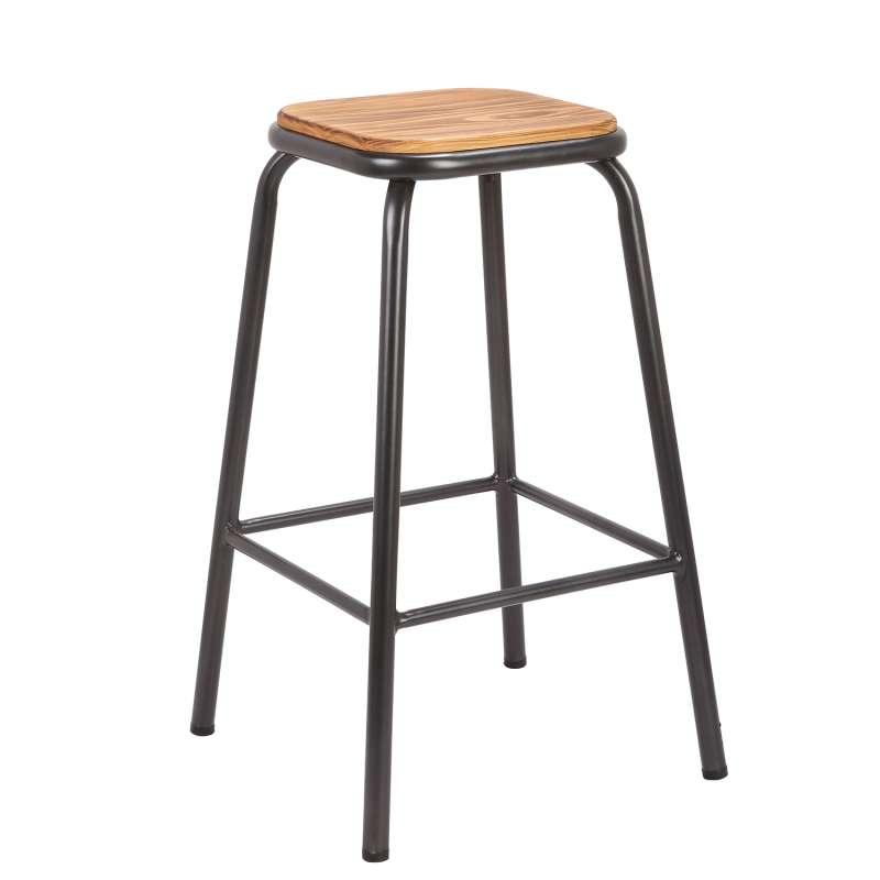 tabouret snack industriel sans dossier en m tal assise bois max 4. Black Bedroom Furniture Sets. Home Design Ideas