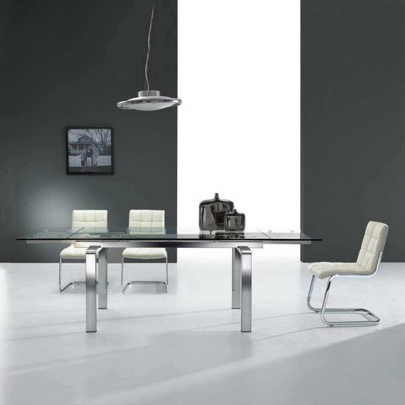 Table design en verre extensible tanina 4 pieds tables Table en verre design