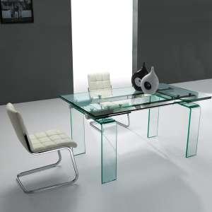 Table design rectangulaire extensible en verre Tania