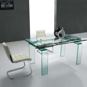 Table design rectangulaire extensible en verre Tania
