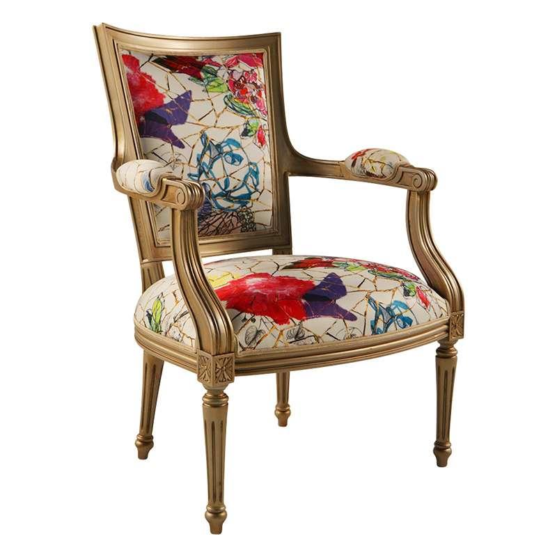 fauteuil cabriolet louis 16 fabrication franaise en tissu avec motifs roses et bois quentin - Cabriolet Fauteuil