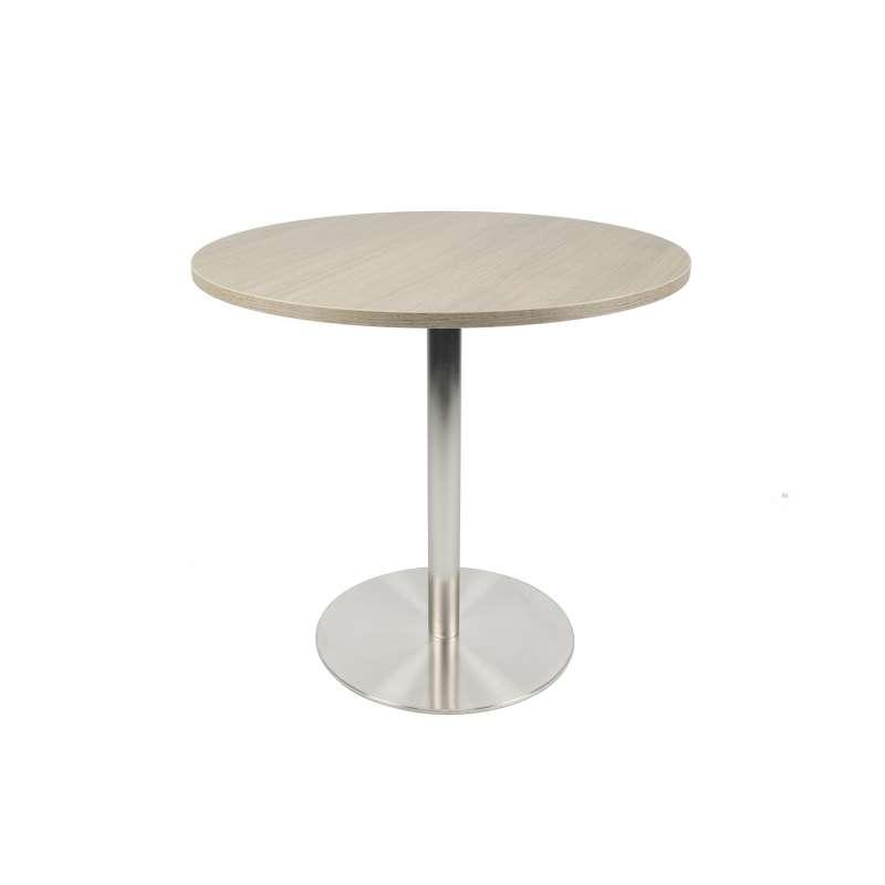 petite table de cuisine ronde en m lamin avec pied central en inox porter 4. Black Bedroom Furniture Sets. Home Design Ideas