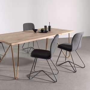 chaise design de salle manger en tissu gris anthracite et mtal hamon - Chaise De Salle A Manger Design