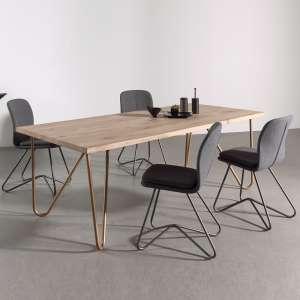 Table design plateau bois pieds géométriques en métal - Weaver