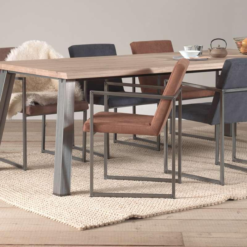 fauteuil moderne en tissu et m tal style industriel howard 4. Black Bedroom Furniture Sets. Home Design Ideas