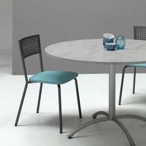 Chaise de cuisine avec dossier à motifs et assise synthétique turquoise - Maria