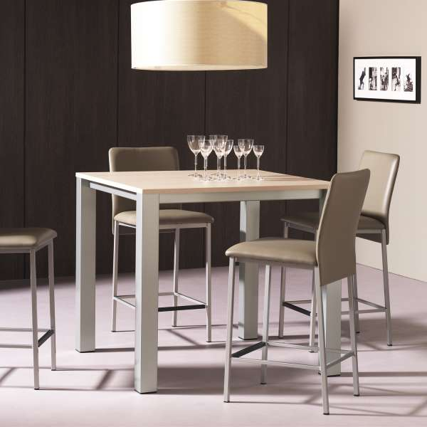 table snack de cuisine carr e en m lamin et m tal costa 4. Black Bedroom Furniture Sets. Home Design Ideas