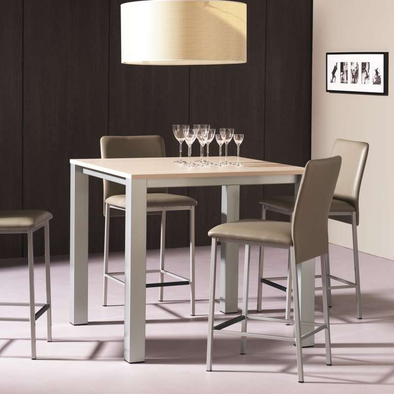 table snack de cuisine carr e en m lamin et m tal costa. Black Bedroom Furniture Sets. Home Design Ideas