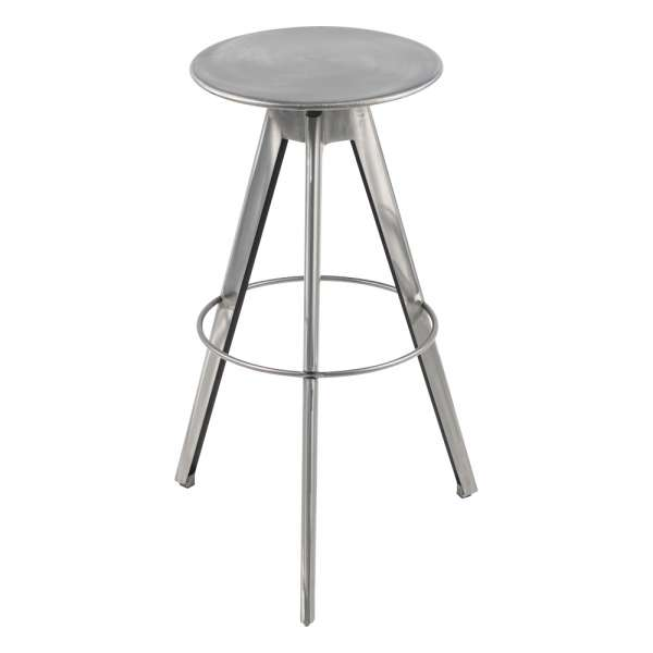 tabouret de bar industriel pivotant sans dossier en inox bross v rone 4. Black Bedroom Furniture Sets. Home Design Ideas