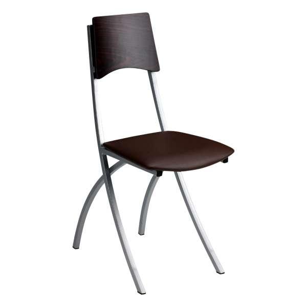 Chaise de cuisine en métal et synthétique dossier bois wengé - Ophélie