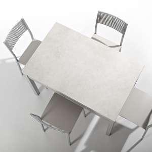 Petite table de cuisine extensible en céramique avec tiroir pieds alu - Iris