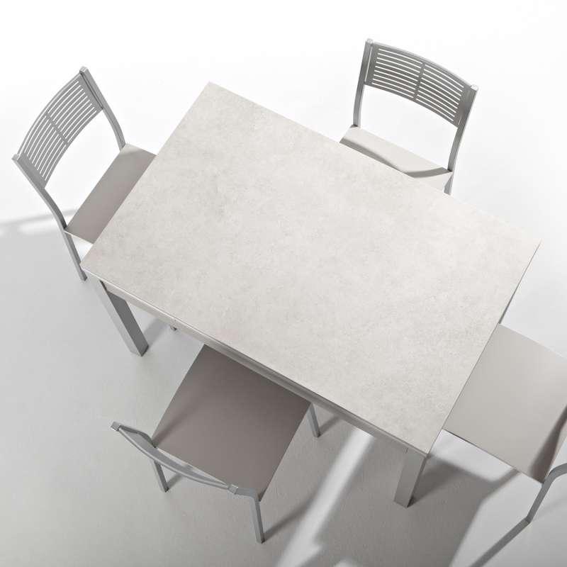 Petite table de cuisine extensible en c ramique avec for Table extensible en hauteur
