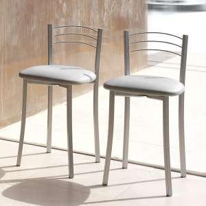 Tabouret bas de cuisine avec assise rembourrée grise et structure métal alu - Yolanda