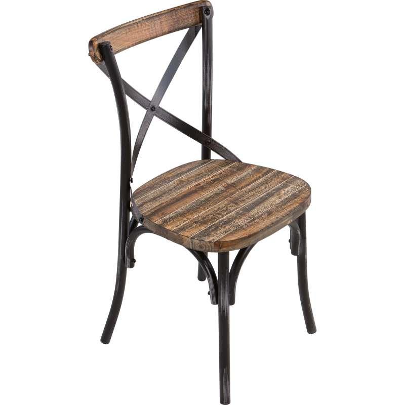 Chaise bistrot vintage en bois et m tal patin madie 4 for Chaise vintage bois