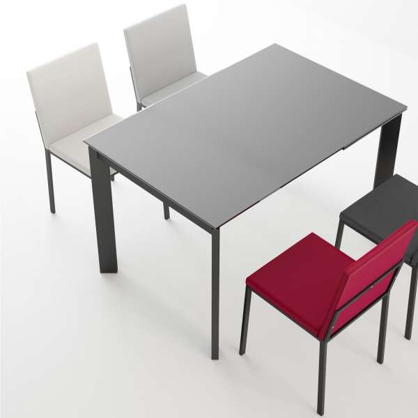 table petit espace extensible en verre poker 4. Black Bedroom Furniture Sets. Home Design Ideas