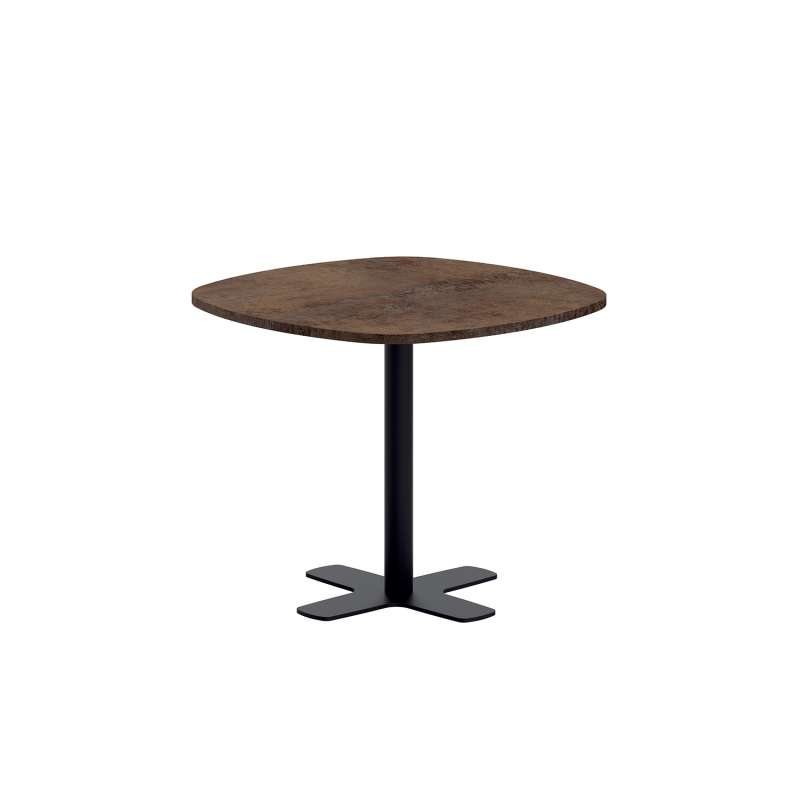 table de cuisine carr e bords arrondis en stratifi avec pied central spinner 4. Black Bedroom Furniture Sets. Home Design Ideas