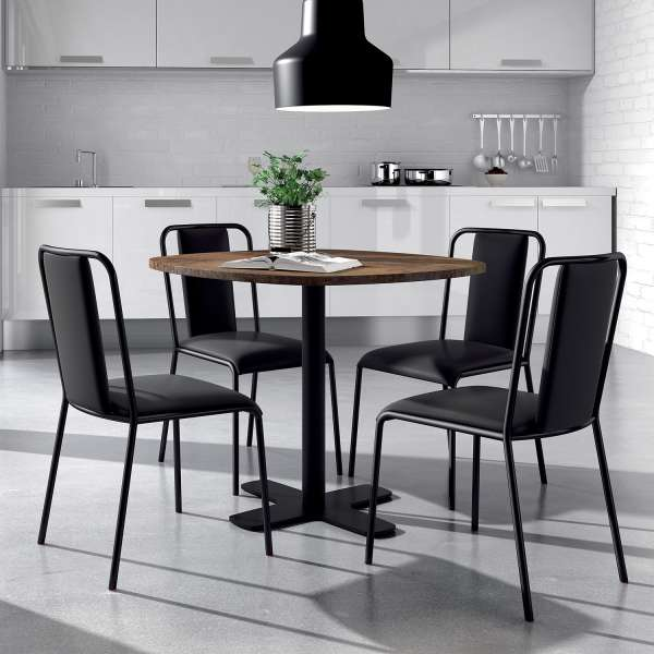 table ronde pour cuisine en stratifi avec pied central. Black Bedroom Furniture Sets. Home Design Ideas