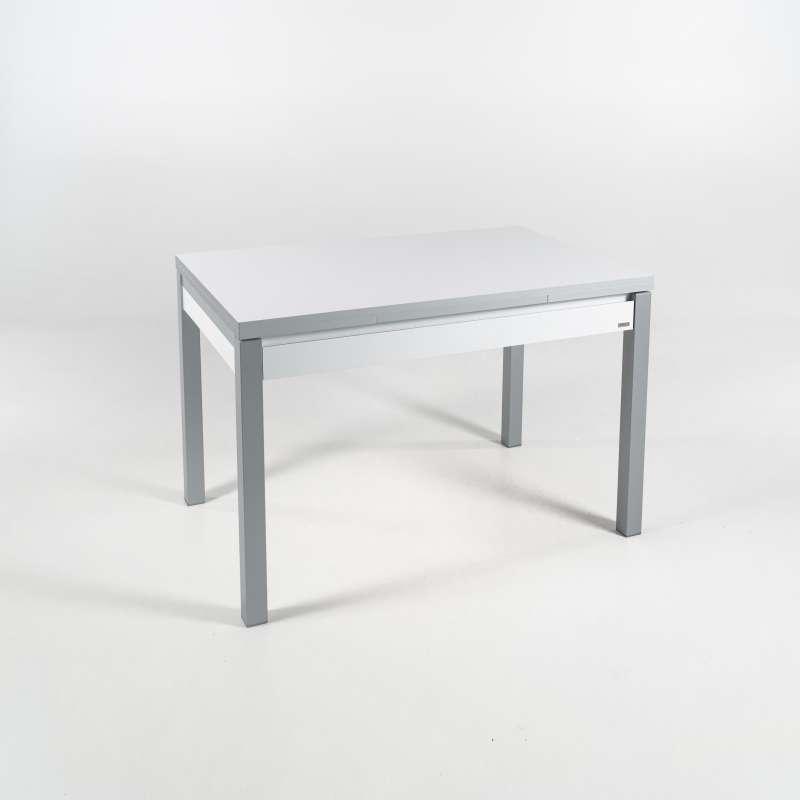 petite table de cuisine en m lamin avec allonges et tiroir pieds alu iris 4 pieds tables. Black Bedroom Furniture Sets. Home Design Ideas