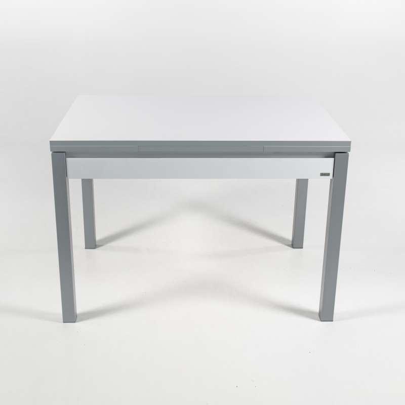 petite table de cuisine en m lamin avec allonges et tiroir pieds alu iris 4. Black Bedroom Furniture Sets. Home Design Ideas