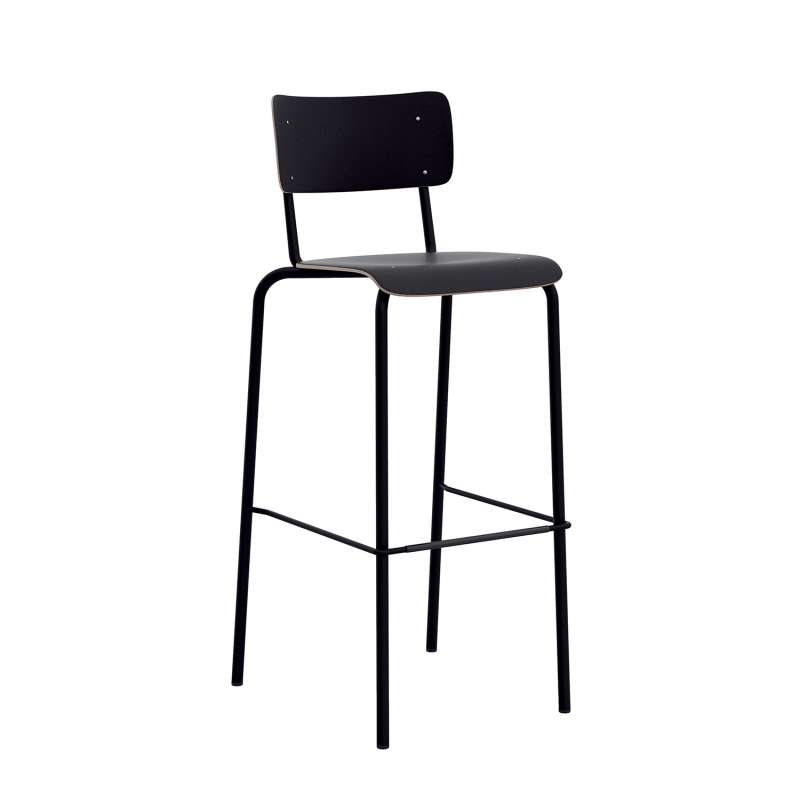 tabouret de bar avec dossier style vintage college 4. Black Bedroom Furniture Sets. Home Design Ideas