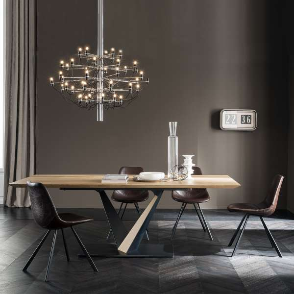 table design style industriel avec pied central en v et. Black Bedroom Furniture Sets. Home Design Ideas