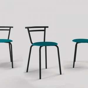 Chaise de cuisine fabriquée en France assise ronde turquoise Atol Pandoria structure métal noir - Xélux
