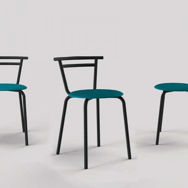 Chaise de cuisine fabriquée en France assise ronde structure métal - Xélus