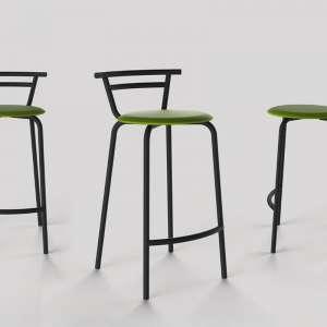 Tabouret snack fabriqué en France assise ronde rembourrée et structure métal - Xélux